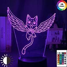 KangYD Luz nocturna 3D Fairy Tail Cat Happy Fly, lámpara LED Illusion Kid, E - Base para despertador (7 colores), Lámpara Novedad, Regalo de la suerte