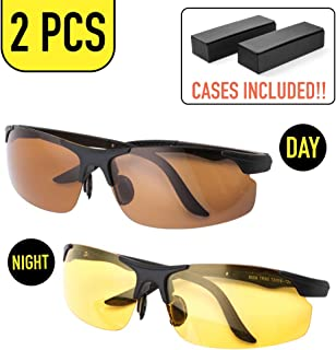 2 pcs HD Unisex Anti-Glare Glasses with Yellow Polarized Sunglasses for Safe Night Vision and Copper Polarized Fashion Sunglasses for Day Time, Durable UV400 Protected Lenses with Glasses Case