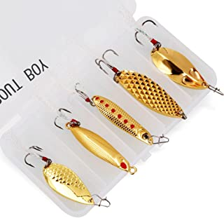TROUTBOY 5Pcs Spoon Fishing Lure Spinnerbaits with Plastic Box - Portable Sequin Spinner Jig VIB Spoon Blade Baits Kit for Bass Trout Salmon Walleye Crappies Perch Fishing
