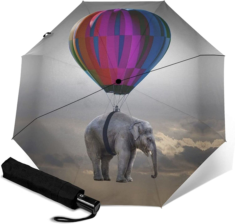 Elephant Hot Air Balloon Print Three-Folding Save money Bargain Umbrella Automatic