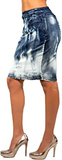 Poetic Justice Curvy Women's Stretch Denim Destroyed High Waisted Pencil Skirt