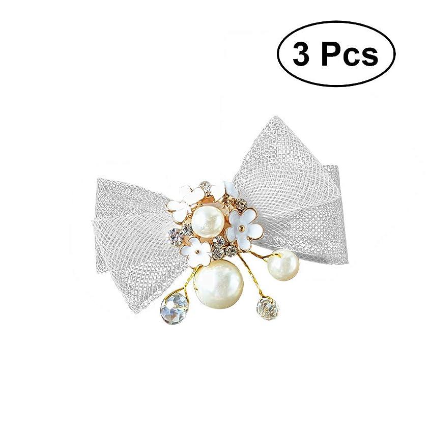 著者刺激するオーナーLurrose 3ピースファッション手作り花嫁蝶ヘアピンクリスタルブライダルヘッドドレスパールヘアピンヘアクリップウェディングドレスアクセサリー