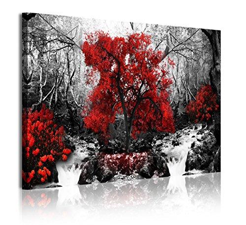 DekoArte 332 - Cuadros Modernos Impresión de Imagen Artística Digitalizada | Lienzo Decorativo para Salón o Dormitorio | Estilo Paisaje Blanco y Negro con Árboles Rojos Naturaleza | 1Pieza 120x80cm