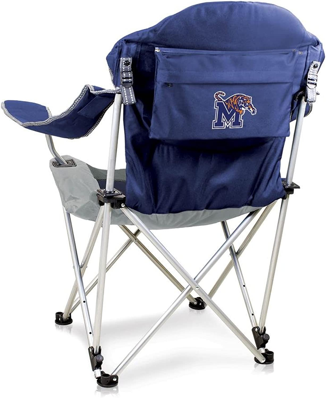 NCAA University of Memphis Digital Print Reclining Camp Chair, Navy, One Size