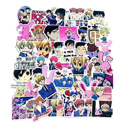Adesivos de desenho animado de anime para laptop e garrafa de água, 50 peças de decalque de vinil bonito para telefone adolescente, bicicleta, skate, capa de viagem, computador (Ouran High School Host Club)