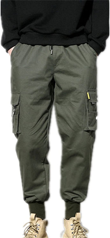 OUXIANGJU Mens Cotton Harempants Cargo Pants Loose Hip Hop Elastic Waist Joggers Male Trousers