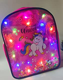 Tera13 Unicorn Glitter Fashion Satchel Bags coin bag Shoulder Sling LED Bag for Girls and Women birthday gifts (pink)
