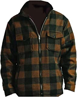 Men's Heavy Warm Fleece Sherpa Lined Zip Up Buffalo Plaid Jacket