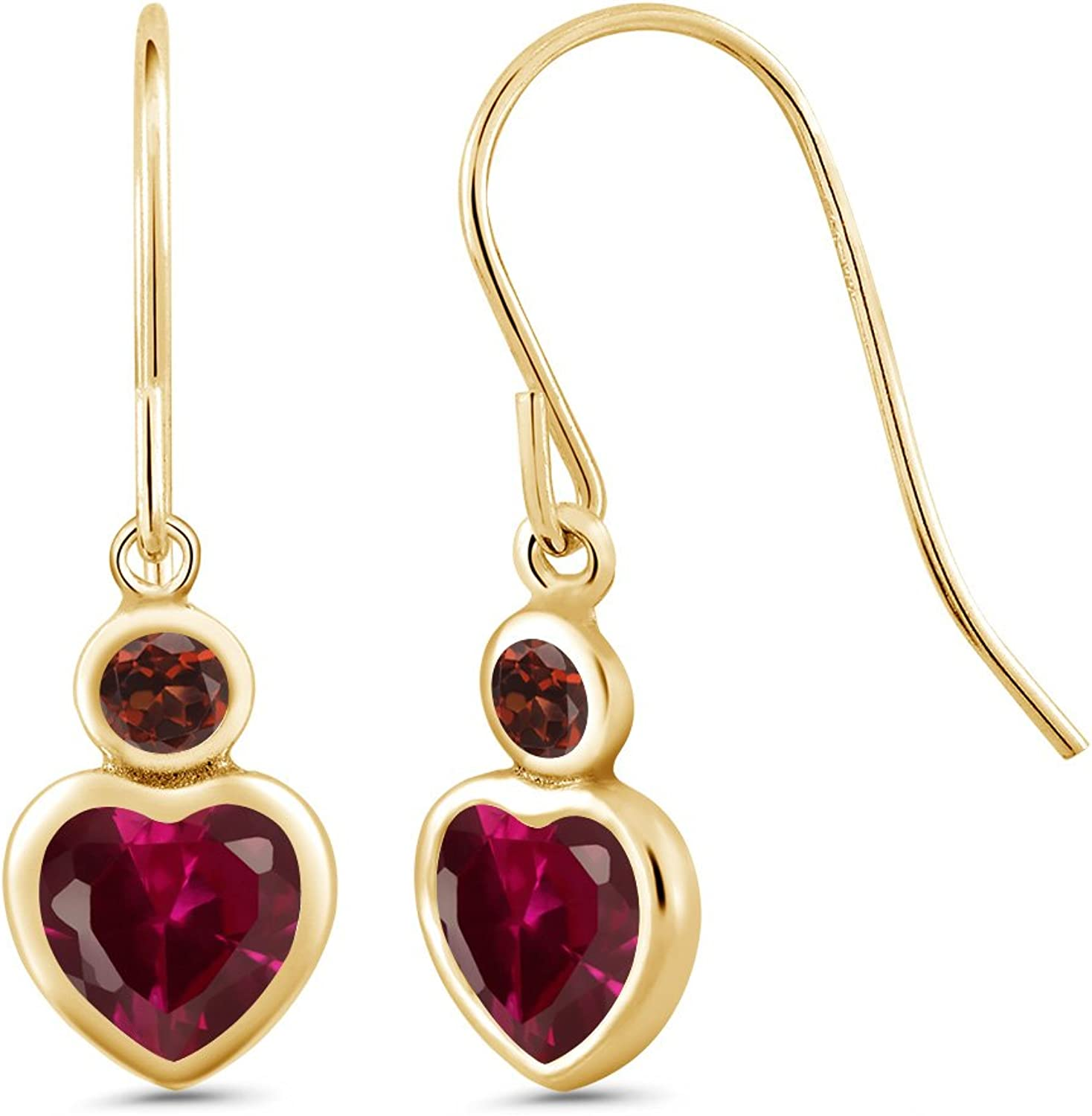 1.44 Ct Heart Shape Red Created Ruby Red Garnet 14K Yellow gold Earrings