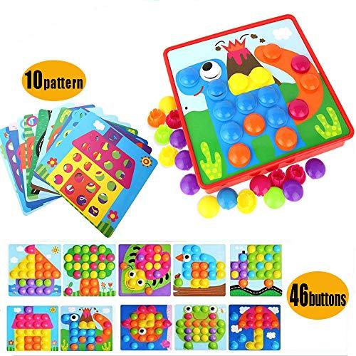 OMZGXGOD Mosaik Steckspiel für Kinder, Steckmosaik mit 46 Steckperlen und 10 Bunten Steckplätte, Mosaiksteine mit Ø 3.5cm, Mosaik Steckspiel für Kinder ab 2 Jahre, Lernspielzeug Geschenke