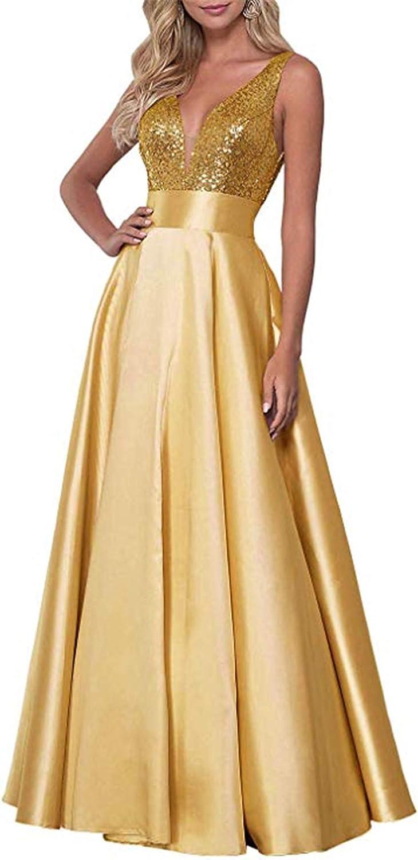 QiJunGe Women's V Neck Prom Dress Long Sequins A Line Evening Formal Gowns