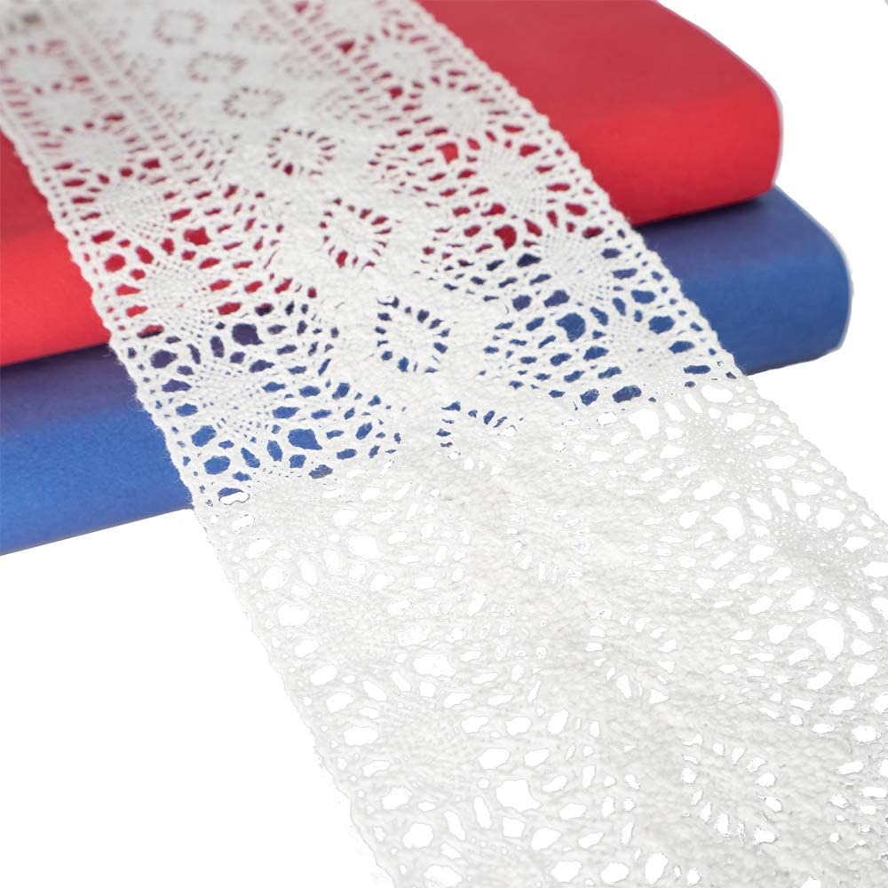 Japan's largest assortment White Cotton Floral Trim Lace Spasm price Craft 5 DIY Yards Ribbon