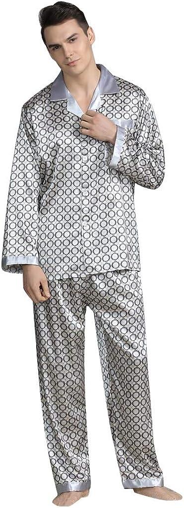 Yowein Men's Silk Satin Pajama Set Short Sleeve Nightshirt Short Sets Button Down Sleepwear Nightwear Loungewear Pjs Set