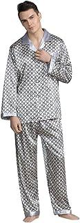Set de 2 pcs Pijama para Hombre Camiseta Manga Larga Cómodo Pantalones de Satén Suave Ropa de Dormir Estampadas para Otoño...
