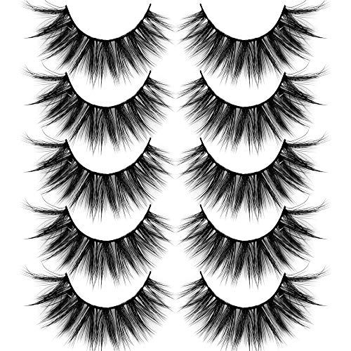 ALICROWN False Eyelashes Cat Eye Natural Eyelashes Wispy Volume Lashes 5 Pairs 7D Soft Handmade Lashes Pack Candy Color Box