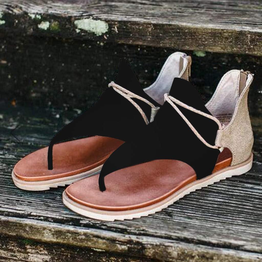 WEGO Flat Sandals for Women 2021 Summer Womens Sandals Bohemian Flat Beach Shoes Clip Toe T-Strap Sandals Flip Flops