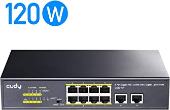 Cudy GS1010P 10-Port Gigabit Ethernet Unmanaged PoE Switch, with 8 x PoE+ @ 120W, Desktop/Rackmount, CCTV/VLAN Mode, 802.3af/ 802.3at, Texas Instruments chipset