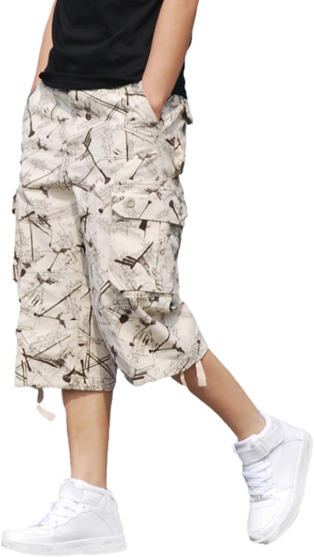 Men's Mid Waisted Cargo Shorts Fashion Large Size Multi-Pocket Loose Straight
