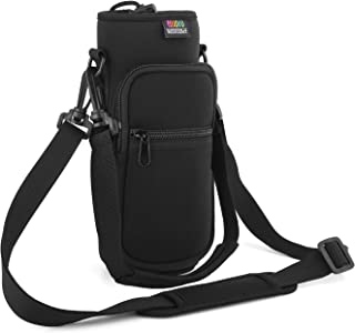 Nuovoware Water Bottle Carrier Bag, Bottle Pouch Holder, Adjustable Shoulder Hand Strap 2 Pocket Sling Neoprene Sleeve Spo...