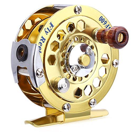 Draagbare vishaspels Spinning Gouden Schijf Drag Aluminium Gesneden Vliegschip 1BB 1:1 Vis Tackle Tool met Retail Box