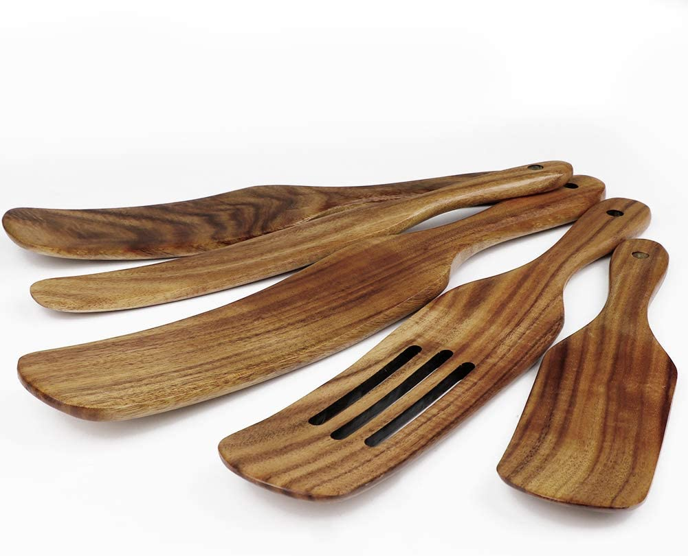 OurWarm Wood Spurtles Kitchen Luxury Set Wooden Bargain Acacia 5 Spoons Piece