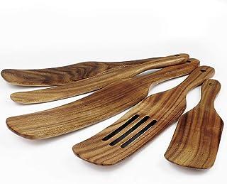 مجموعه صنوبر چوبی چوبی گرم ما ، 5 عدد لوازم آشپزخانه چوبی ساج طبیعی برای وسایل آشپزخانه غیر استیک ، ابزار آشپزخانه Spurtles همانطور که از تلویزیون دیده می شود ، قاشق های چوبی شکاف دار برای پخت و پز ، هم زدن ، مخلوط کردن ، سرو کردن ، سرخ کردن