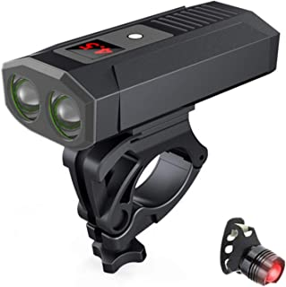Greneric - Faro LED para bicicleta (2000 mAh, recargable, fácil de usar, fácil de instalar, IPX6, resistente al agua, para...