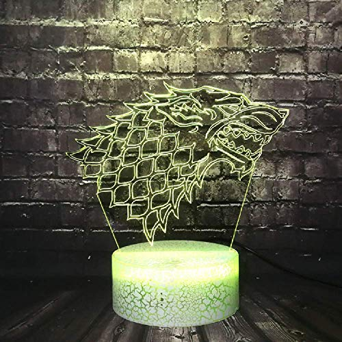 3D Led Fashion Crack Night Light Juego De Tronos Lámpara House Stark Logo Decor Boy Room Mood Table Lava Holiday Fans Regalo De Amigo