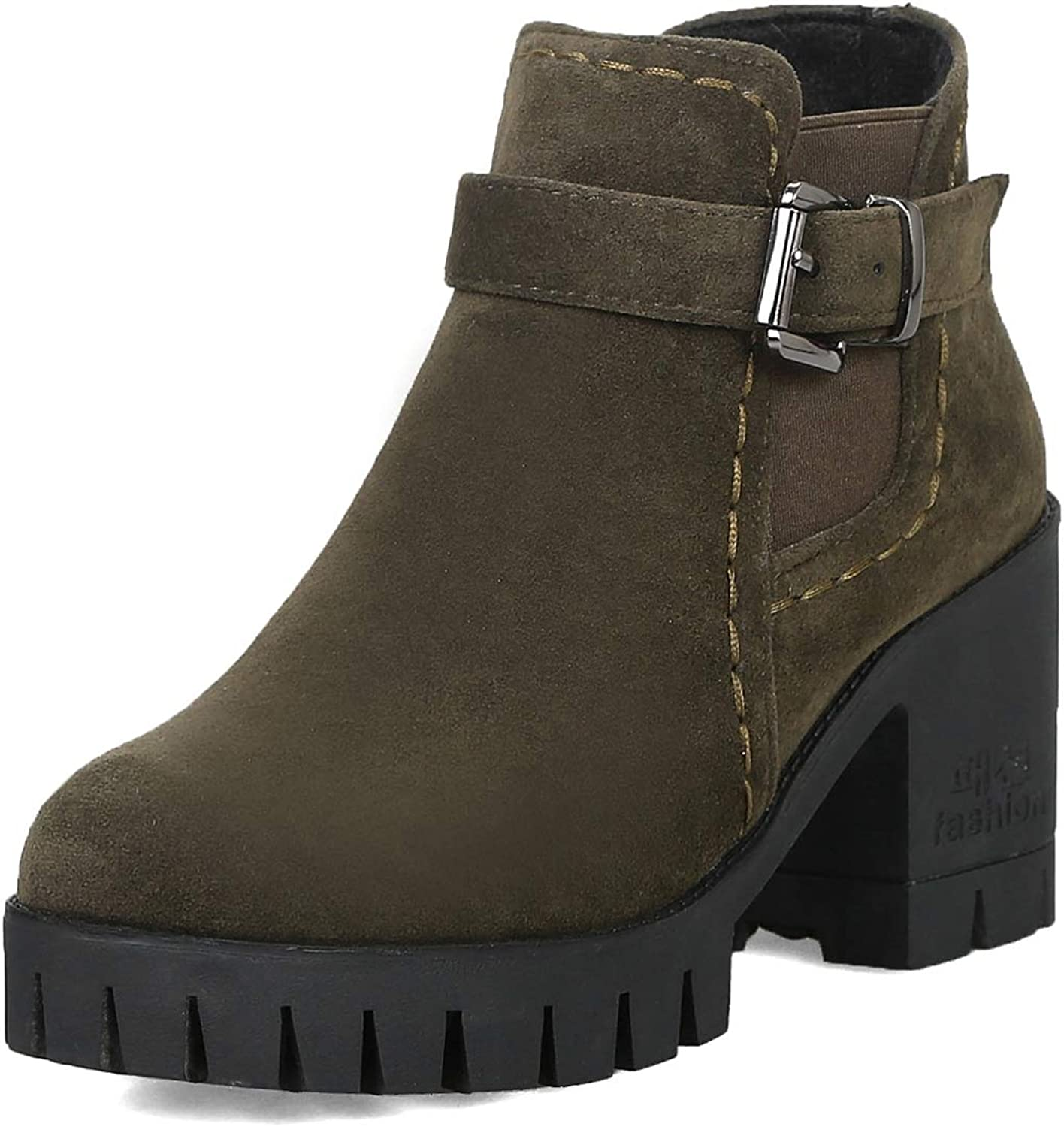 CYBLING Women's Elastic Lug Sole Platform Chunky Ankle Boots Thigh High Chelsea Booties