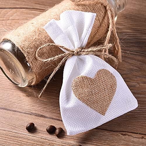 12 stycken bröllop förmåner väskor smycken väska trendiga naturlig linne påse hjärta mönster dragsko linne väskor bröllop presentpåsar