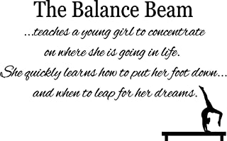 "CreativeSignsnDesigns [Creative Signs N Designs, Balance Beam Quote Teaches A Young Girl. Gymnastics Vinyl Wall Decal 22"" x 14"" Black"