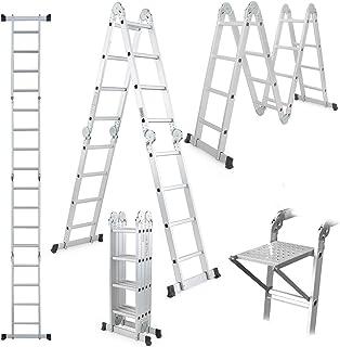 Escalera Multiusos con Bandeja de Herramientas Escalera Plegable 4.7M Escalera de Aluminio Extensible de 15.5 pies Escalera de Servicio Pesado 14 en 1 con bisagras de Bloqueo de Seguridad Ca