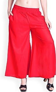 Ladyline Plain Rayon Palazzo Pants with Pockets - 24 Inch Inseam