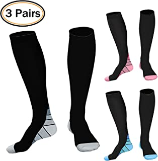 Permande Compression Socks for Women & Men 3 Pairs 20-30 mmHg Wide Calf