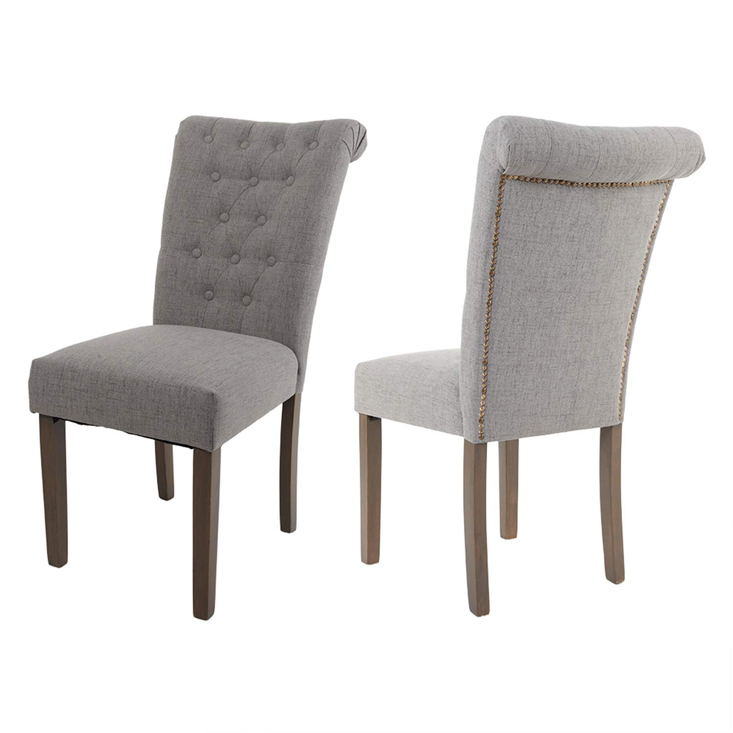 Upholstered Dining Chairs Parson Light Wood
