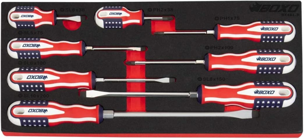 Boxo Limited trend rank Edition 8-Piece Popular products American Se Handle Flag Screwdriver