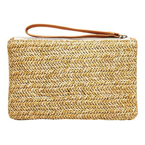 Las mujeres muñequeras de viento tejido bolso de playa señoras verano cremallera accesorio mini bolsa de viaje cartera pulsera señora luz