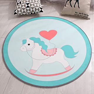 Rug Fashian Love Horse Pattern Small Fresh Color Background, Round Carpet Mat, Suitable For Living Room Bedroom Study, Computer Interior Decoration Basket Mat Print Cartoon Waterproof Children Blanket