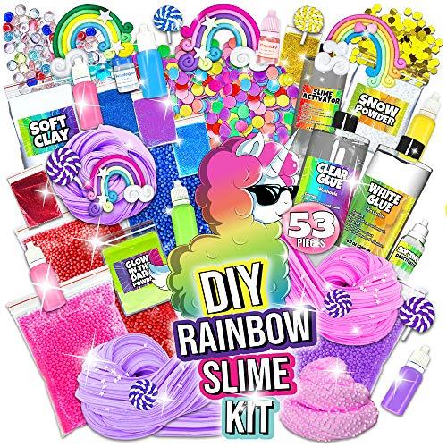 Unicorn Slime Kit for Girls - Slime DIY Supplies Slime Kits - Slime Making Kit Cloud Slime Kit for Boys - DIY Slime Kit with Instant Snow, Clear Glue, Foam Balls, Slime Glue