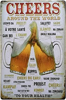 Cheers Around The World Beer Vintage Metal Tin Sign For Wall Bar Pub Home Retro Decor 12 x 8 Inch