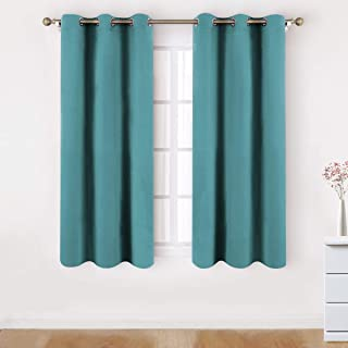HOMEIDEAS Blackout Curtains Wide 42 X 63 Inches Length Set of 2 Panels Teal Green Room Darkening Curtains/Drapes, Thermal Insulated Grommet Window Curtains for Bedroom & Living Room