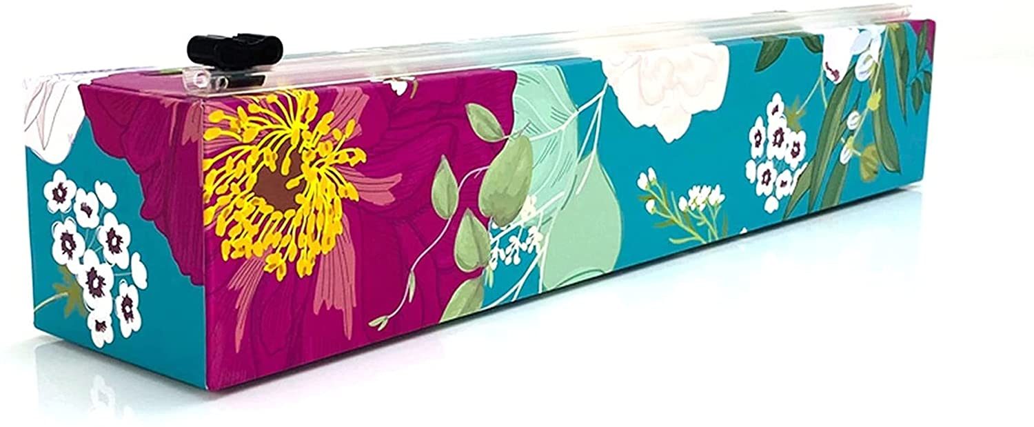 ChicWrap Spring Flowers Plastic Wrap Dispenser with 12