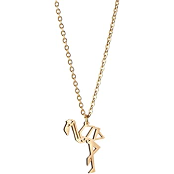 La Menagerie Flamingo Gold Origami Jewelry & Gold Geometric Necklace – 18 Karat Plated Gold Necklace & Flamingo Necklaces for Women – Flamingo Necklace for Girls & Origami Necklace