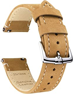 B&E Quick Release Watch Bands Top Grain Genuine Leather Watch Strap for Men & Women - Nubuck Style Wristbands 18mm 20mm 22mm Available