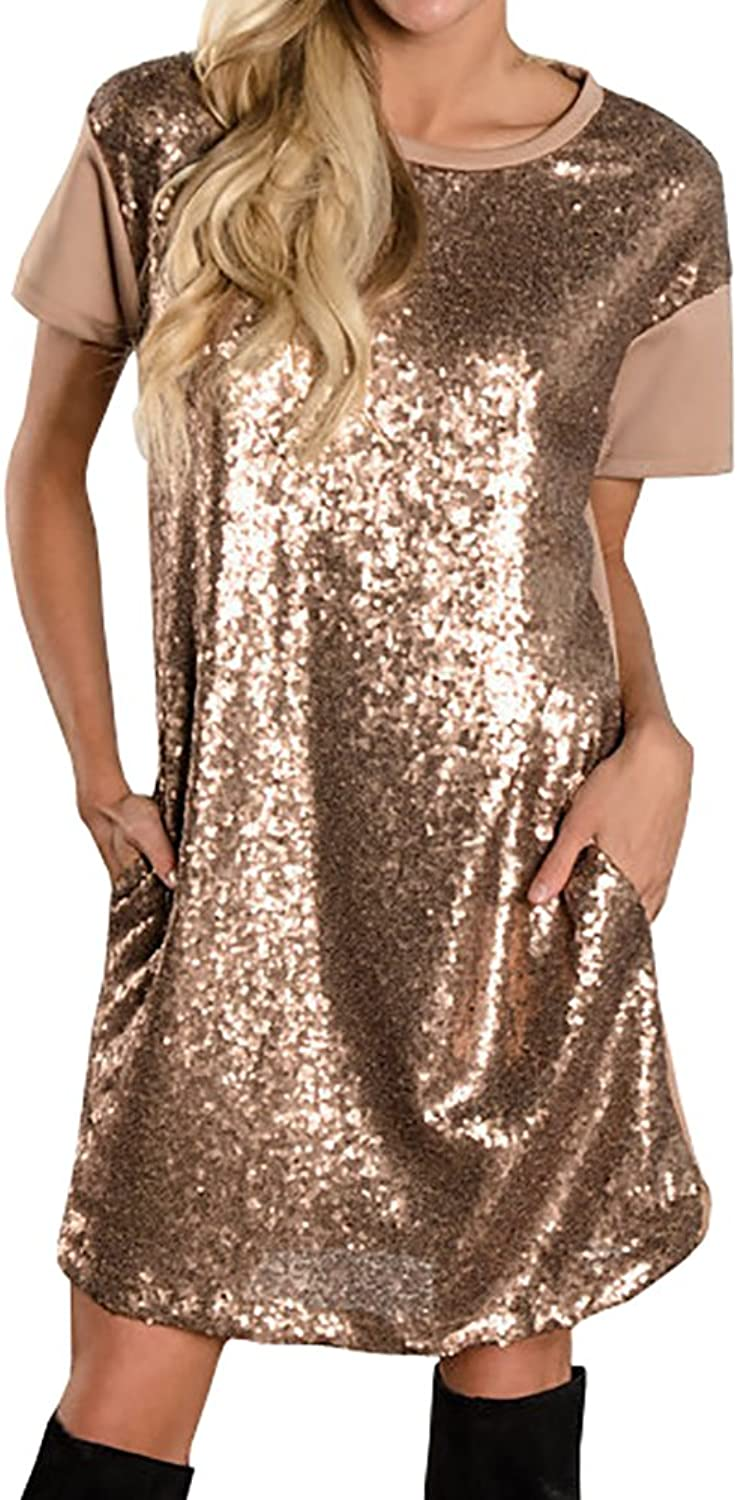 Hestenve Womens Sequin Glitter Short Sleeve Dress Mini Party Club Gowns with Pocket