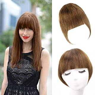 VIOLET Clip in Human Hair Flat Neat Bangs with Temple One Piece Neat Front Bangs Hand Tied Clip on Fringe Bangs Hair Piece for Women(Light Brown)