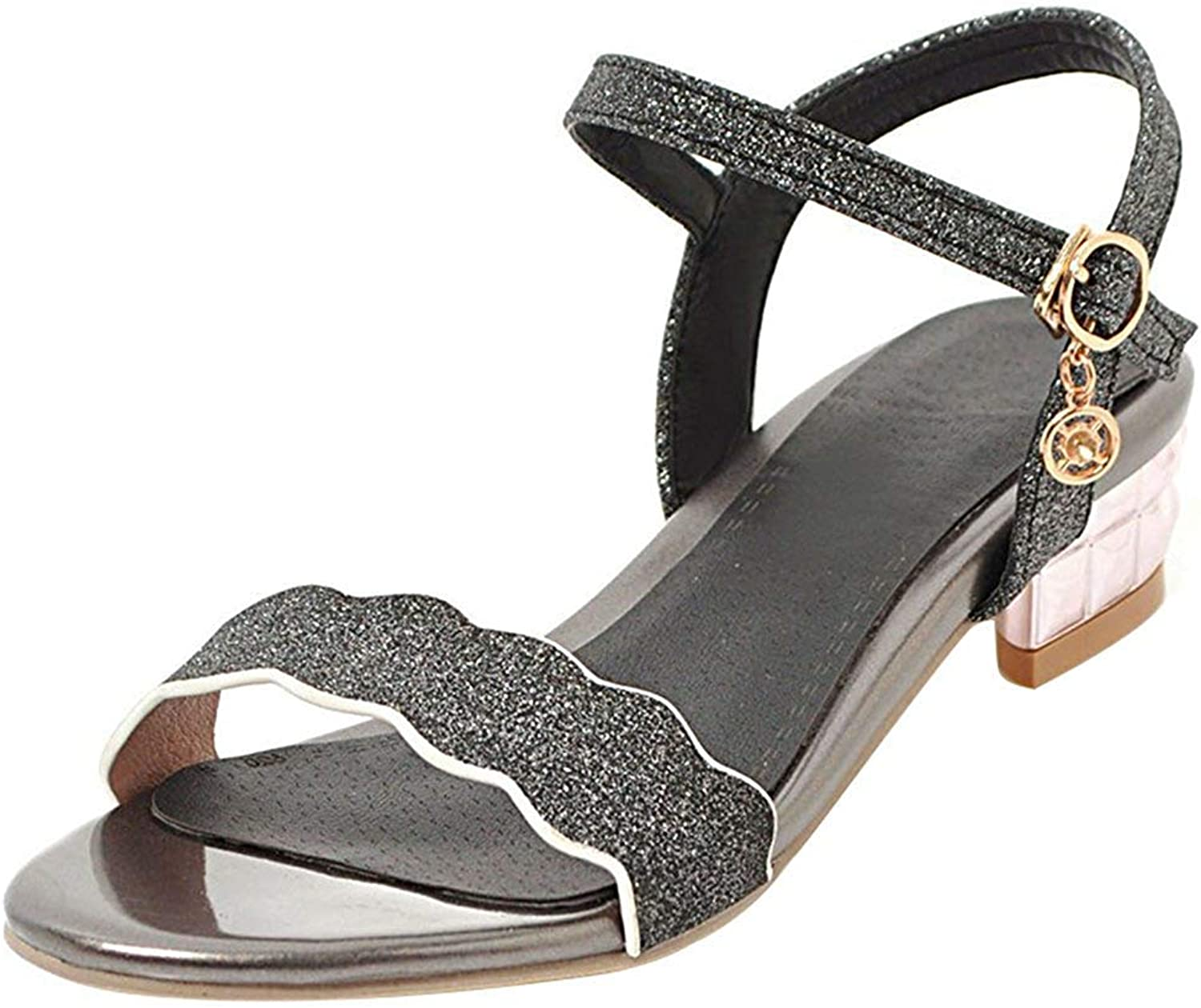 Gedigits Women's Comfy Sequined Open Toe Buckle Ankle Strap Bow Block Heel Sandals shoes Black 4.5 M US