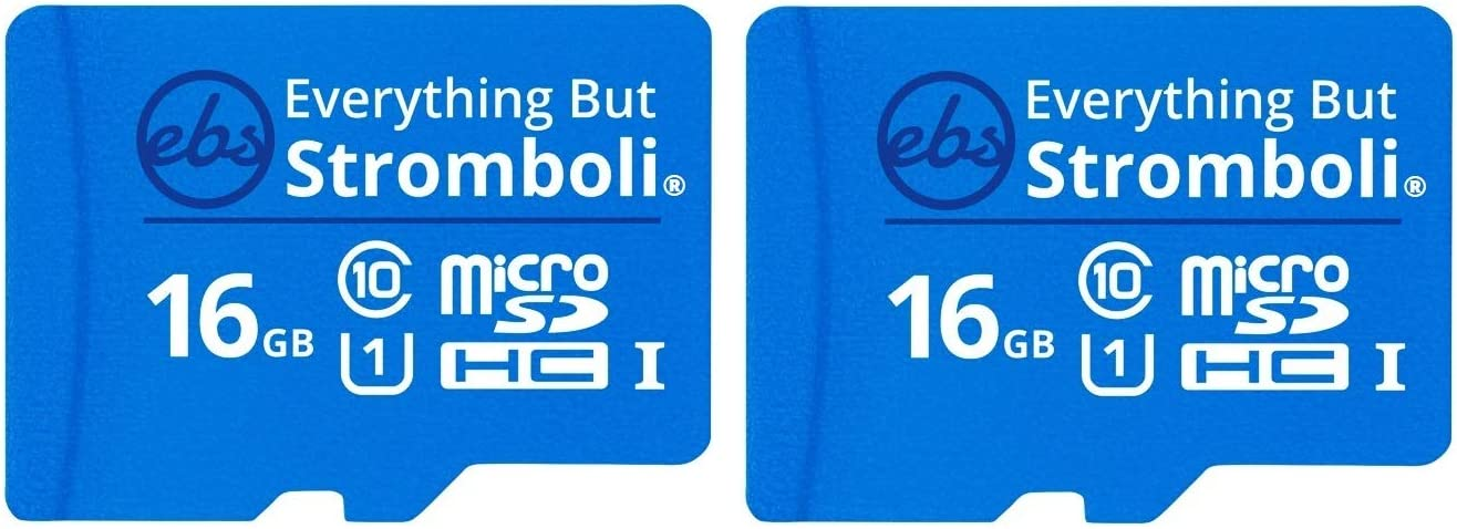 Everything But Stromboli 16GB Micro SD Memory Card w/Adapter (Bulk 2 Pack) Class 10, U1, UHS-1, TF Micro SDHC Card for Compatible Samsung Galaxy Phone or Tablet, Dash Cam, Action Cam, Security Camera