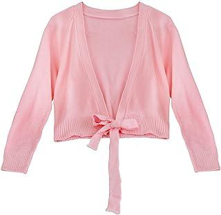 FEESHOW Girls' Classic Long Sleeve Ballet Dance Wrap Knit Cardigan Sweater Top