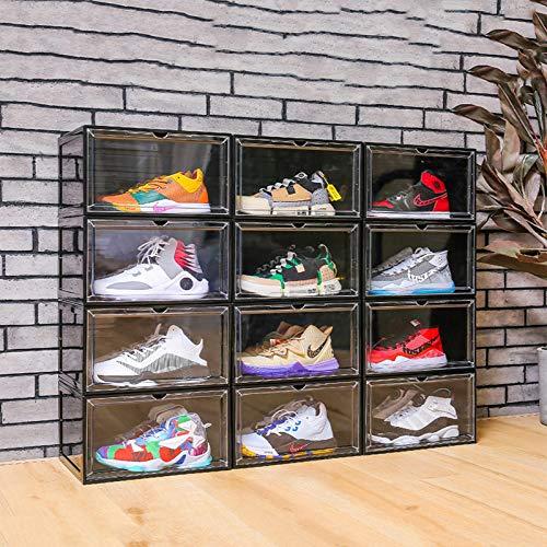 WONOOS Caja De Zapatos Transparente Almacenamiento De Apertura Lateral Pantalla A Prueba De Polvo Caja De Gabinete De Zapatos Caja De Acabado Antioxidante De Almeja,Clear